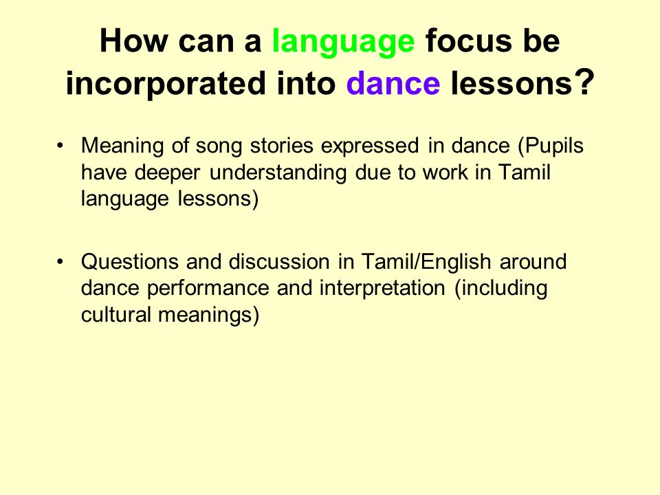 How can a language focus be incorporated into dance lessons