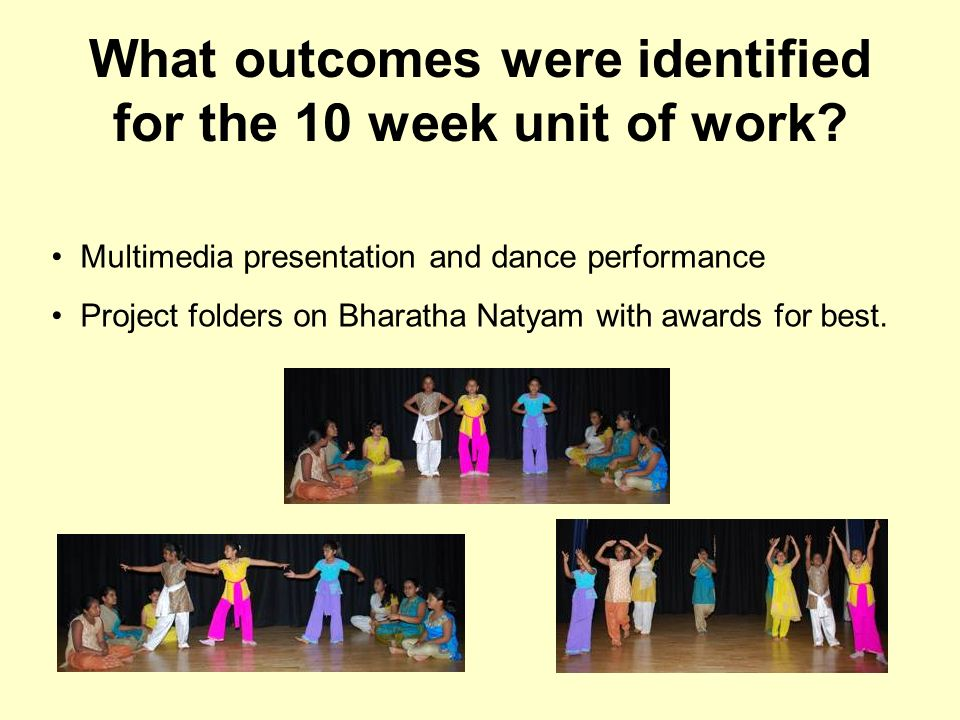 What outcomes were identified for the 10 week unit of work