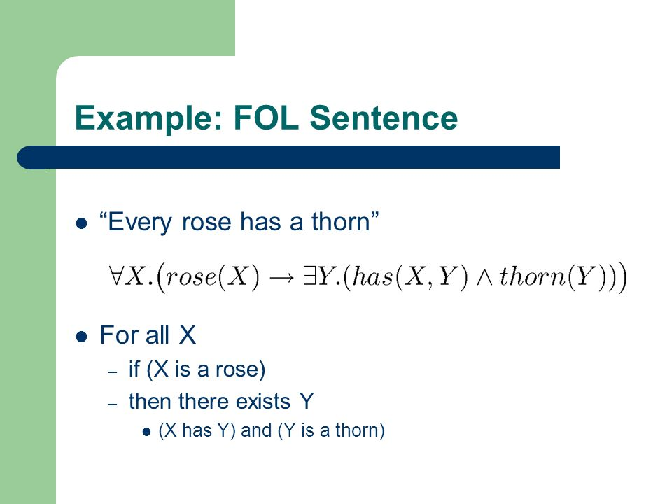 Example: FOL Sentence Every rose has a thorn For all X