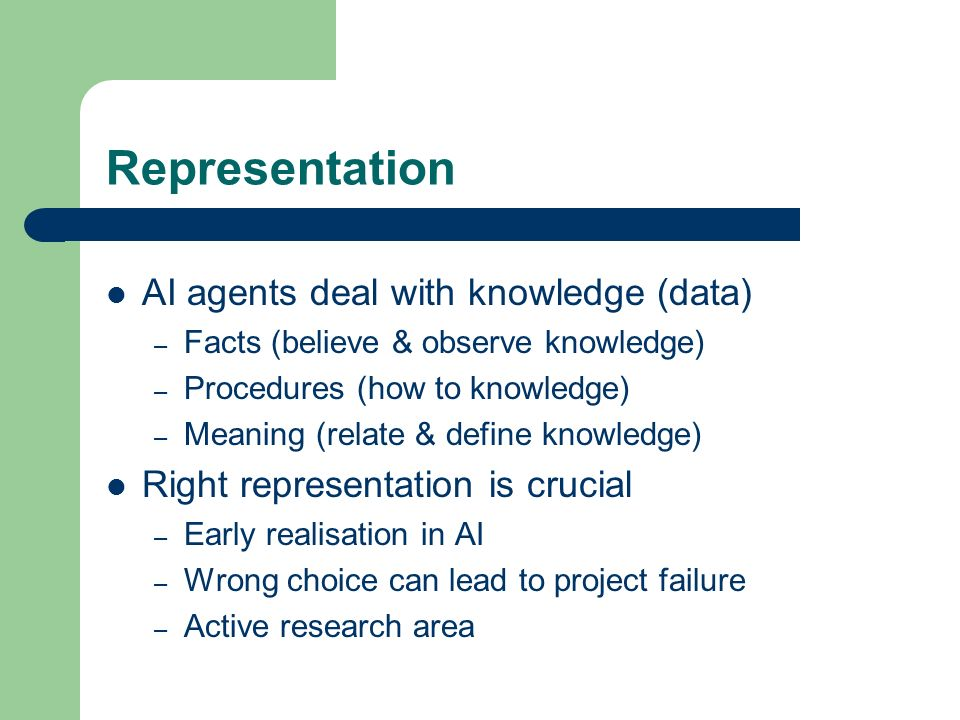 Representation AI agents deal with knowledge (data)