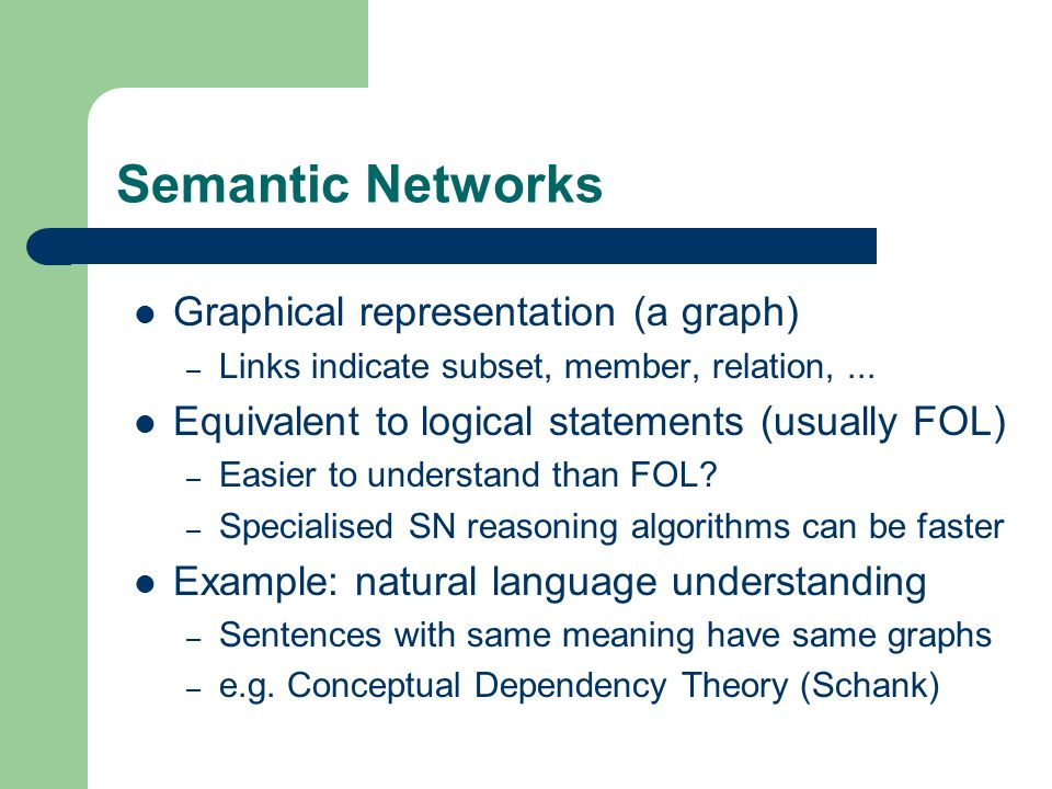 Semantic Networks Graphical representation (a graph)