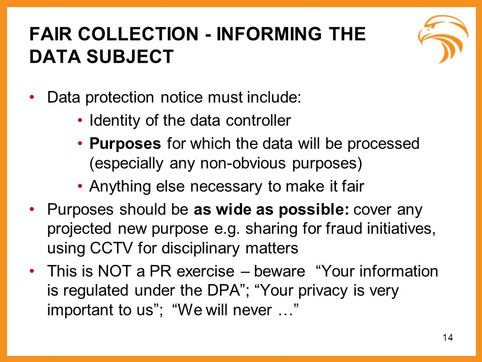 FAIR COLLECTION - INFORMING THE DATA SUBJECT