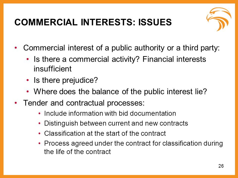 COMMERCIAL INTERESTS: ISSUES
