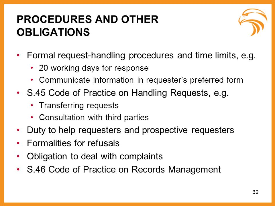 PROCEDURES AND OTHER OBLIGATIONS