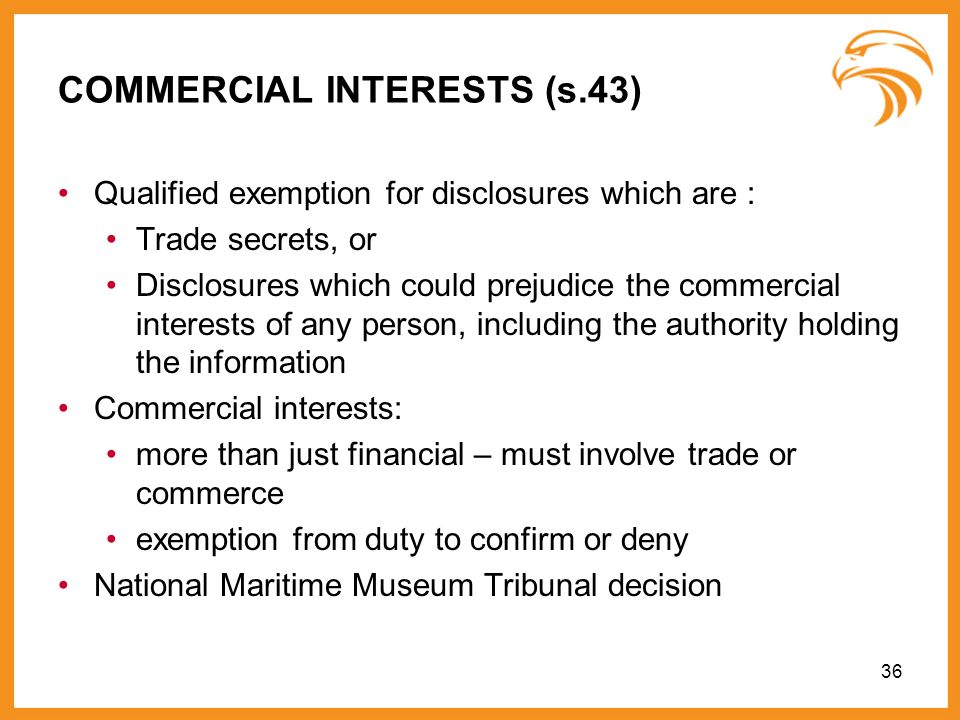 COMMERCIAL INTERESTS (s.43)