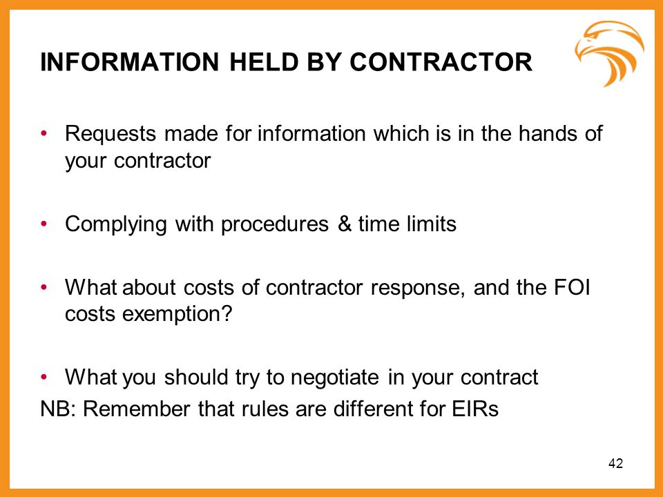 INFORMATION HELD BY CONTRACTOR