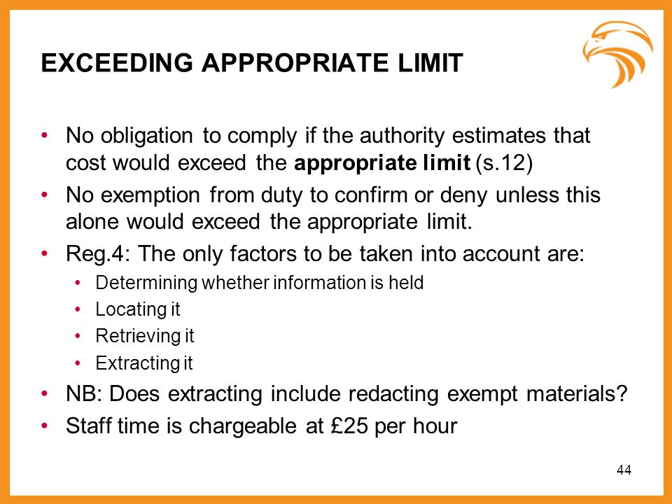 EXCEEDING APPROPRIATE LIMIT