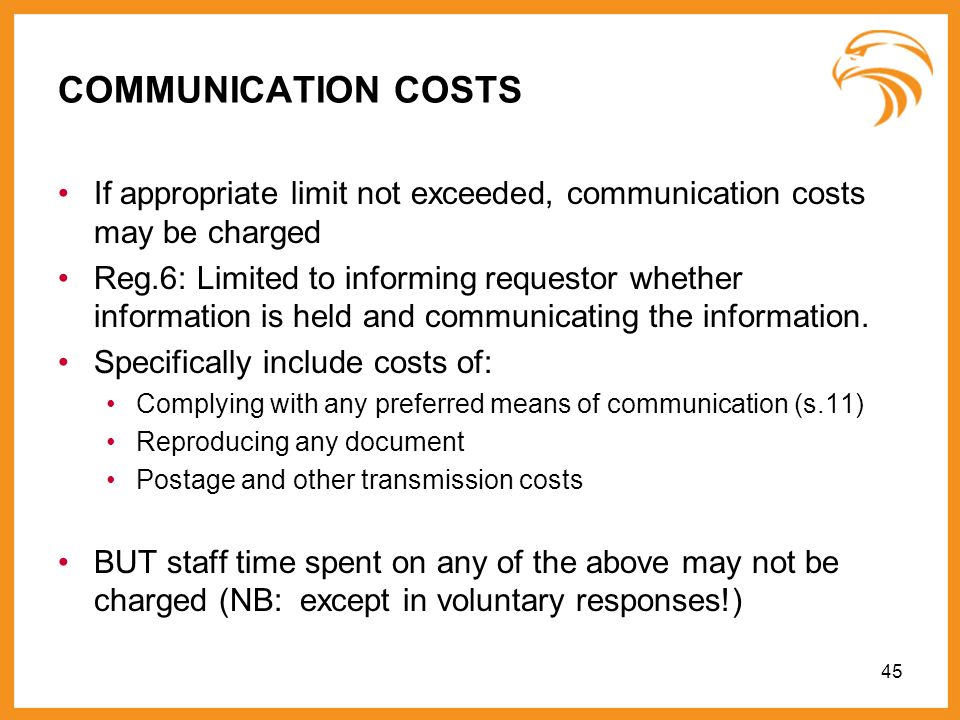 20893486v1COMMUNICATION COSTS. If appropriate limit not exceeded, communication costs may be charged.