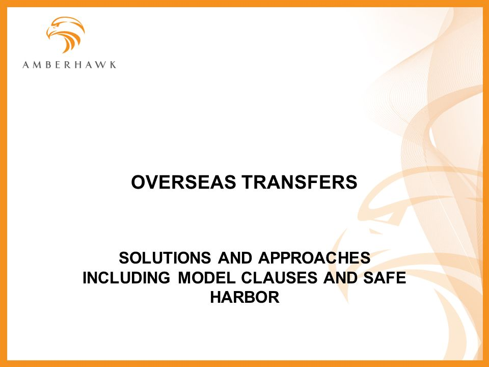 SOLUTIONS AND APPROACHES INCLUDING MODEL CLAUSES AND SAFE HARBOR