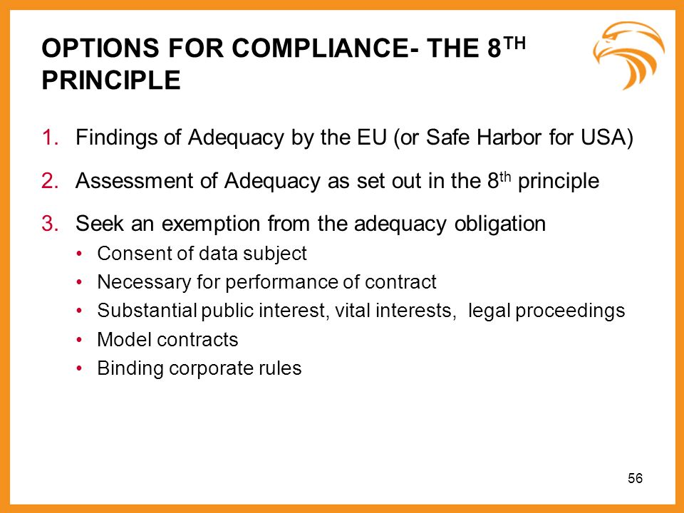 OPTIONS FOR COMPLIANCE- THE 8TH PRINCIPLE