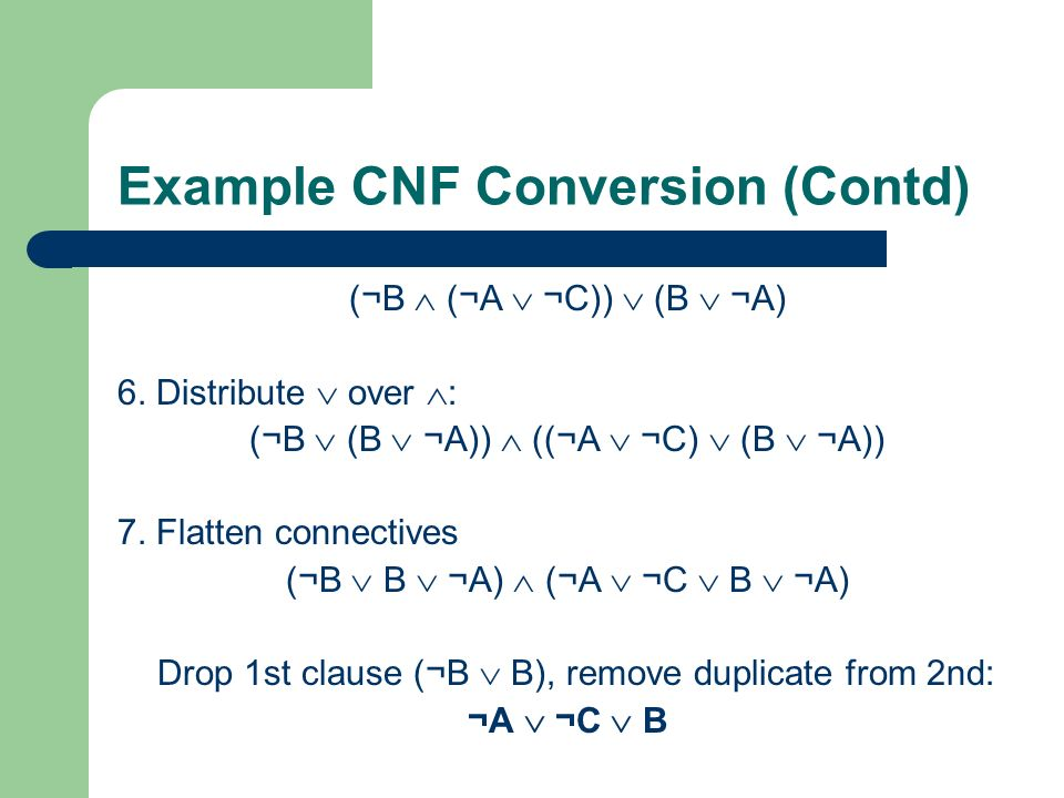 Example CNF Conversion (Contd)