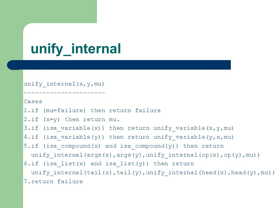 unify_internal unify_internal(x,y,mu) ---------------------- Cases