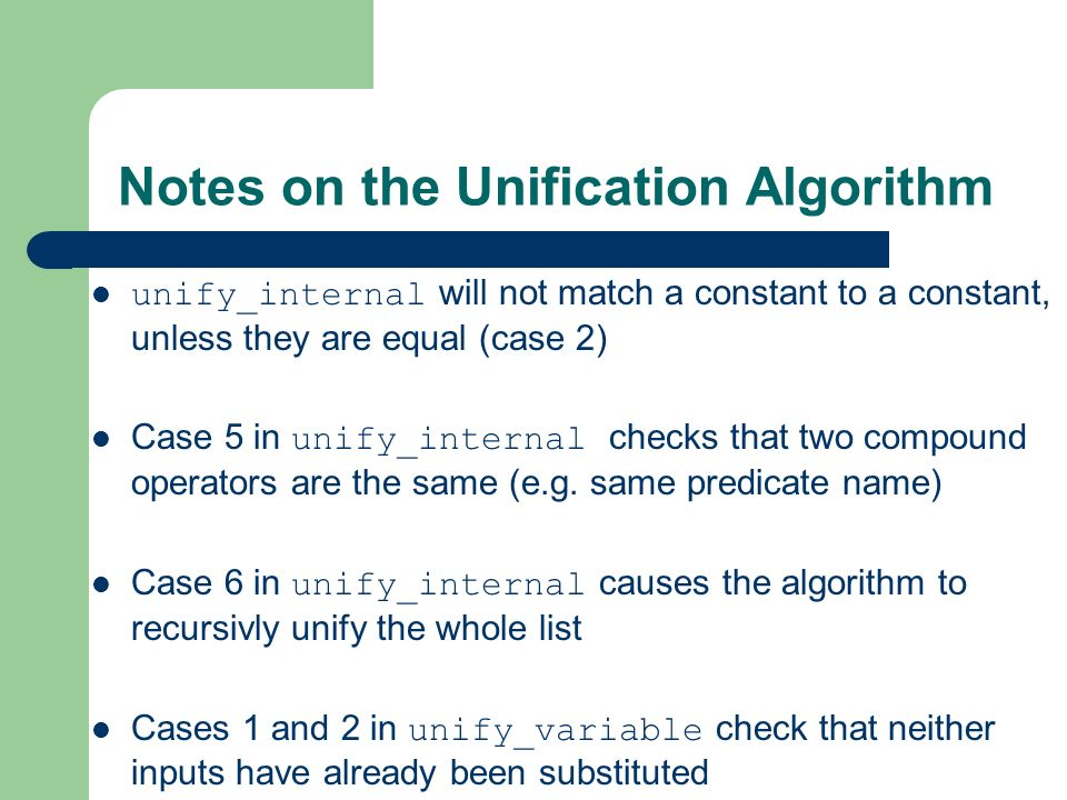 Notes on the Unification Algorithm