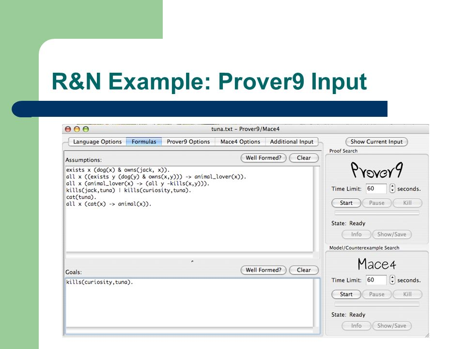 R&N Example: Prover9 Input