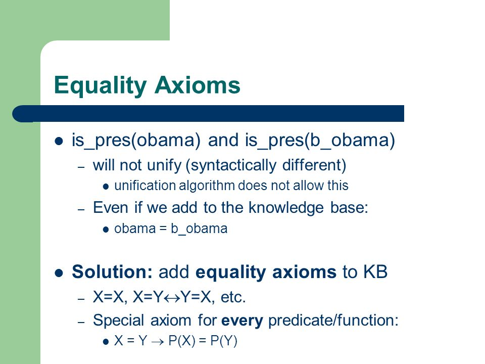 Equality Axioms is_pres(obama) and is_pres(b_obama)