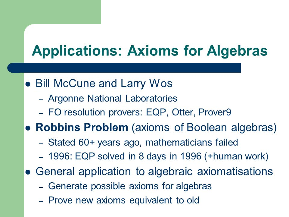 Applications: Axioms for Algebras