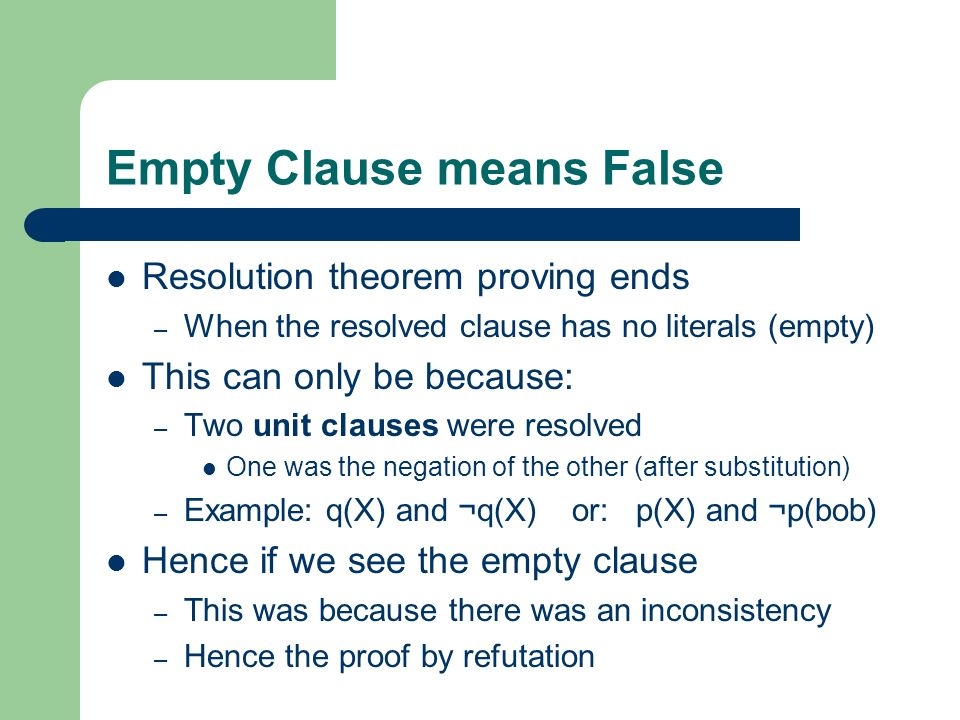 Empty Clause means False