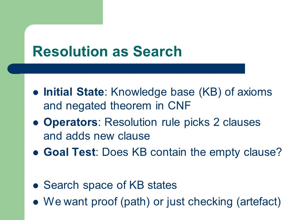 Resolution as Search Initial State: Knowledge base (KB) of axioms and negated theorem in CNF.