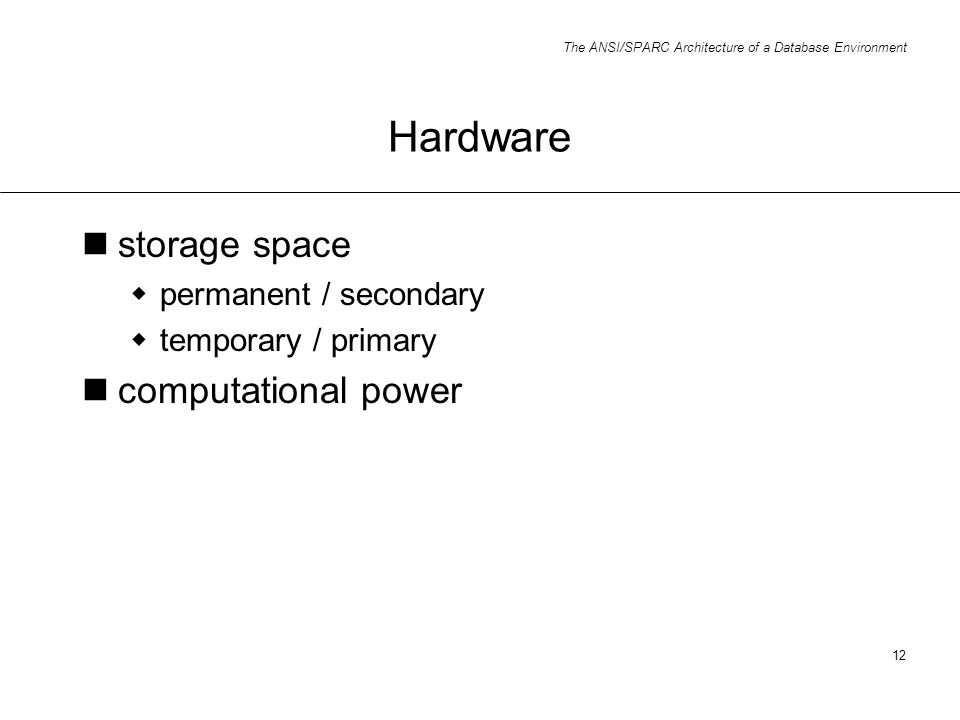 Hardware storage space computational power permanent / secondary