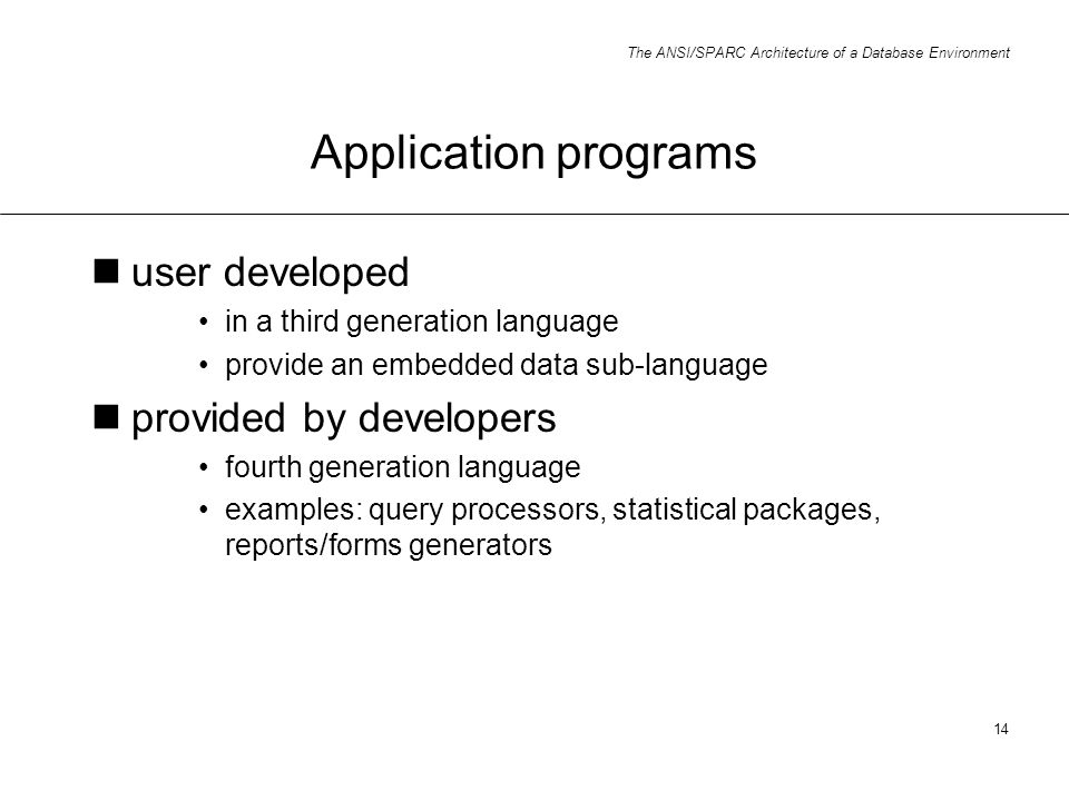 Application programs user developed provided by developers