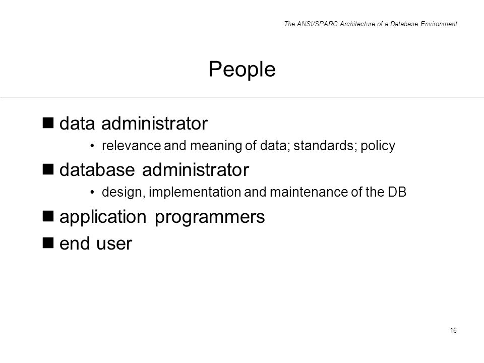 People data administrator database administrator