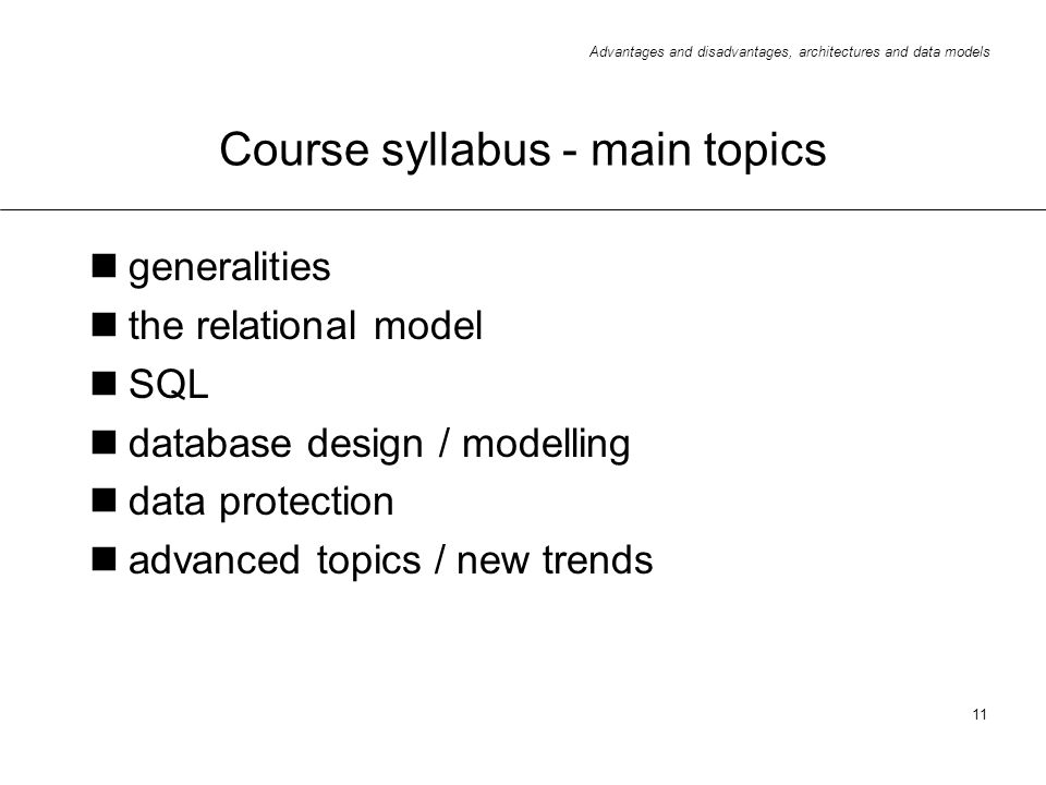 Course syllabus - main topics
