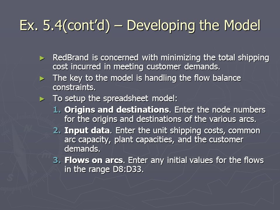 Ex. 5.4(cont'd) – Developing the Model