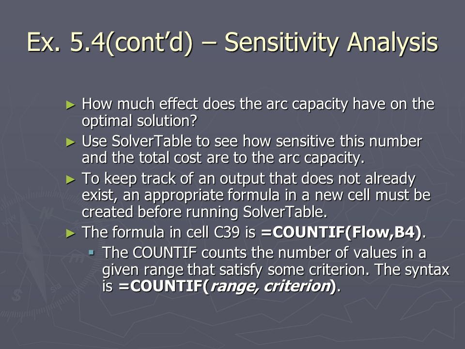 Ex. 5.4(cont'd) – Sensitivity Analysis