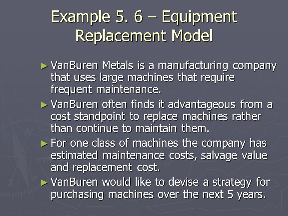 Example 5. 6 – Equipment Replacement Model
