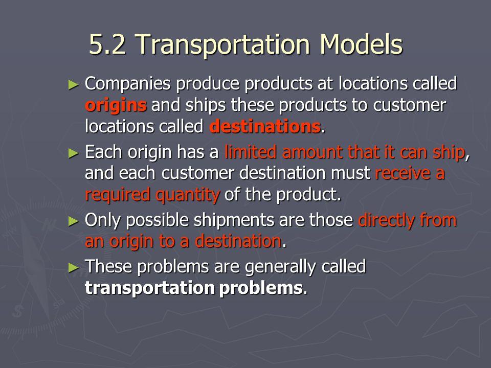 5.2 Transportation Models