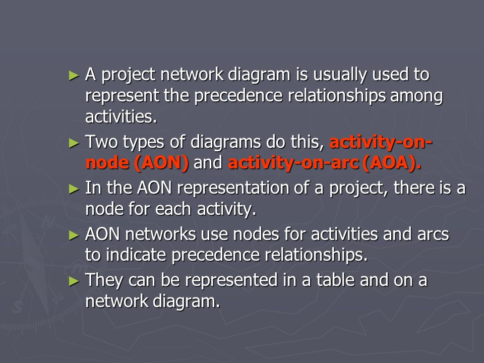 A project network diagram is usually used to represent the precedence relationships among activities.