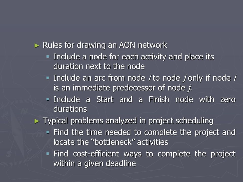 Rules for drawing an AON network
