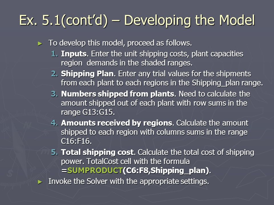 Ex. 5.1(cont'd) – Developing the Model