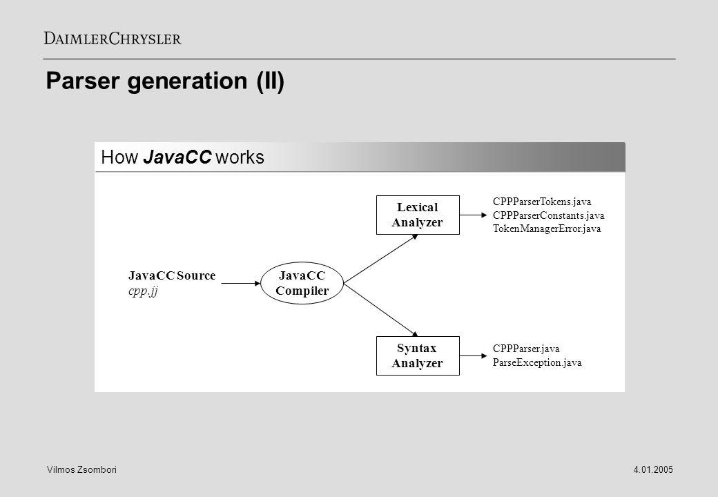 Parser generation (II)