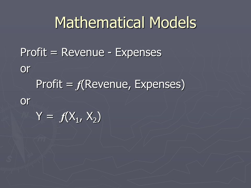 Mathematical Models Profit = Revenue - Expenses or
