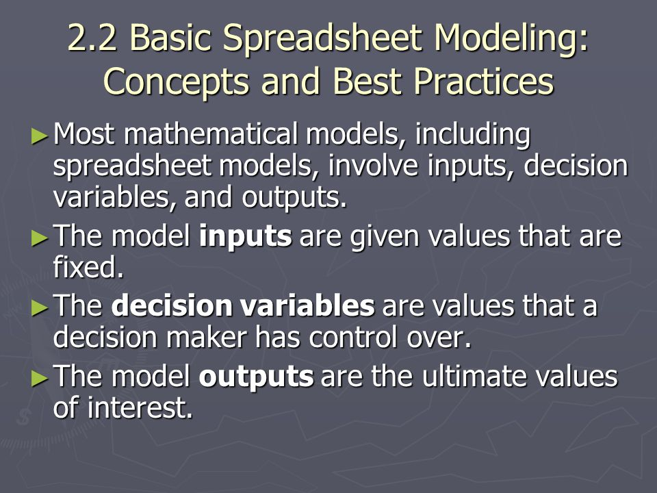 2.2 Basic Spreadsheet Modeling: Concepts and Best Practices
