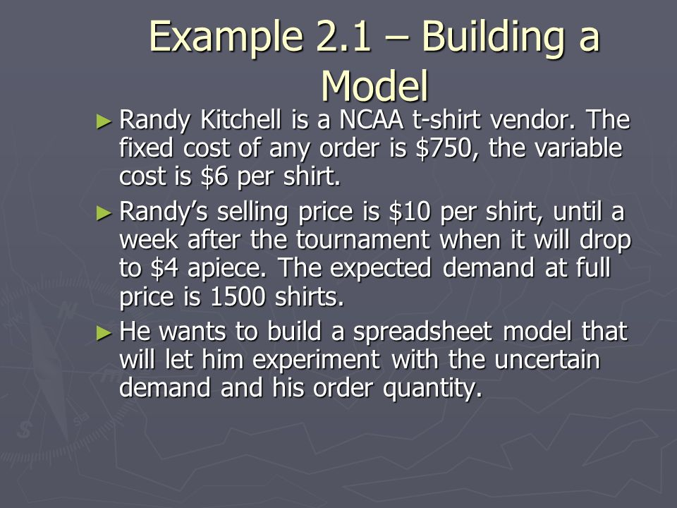 Example 2.1 – Building a Model
