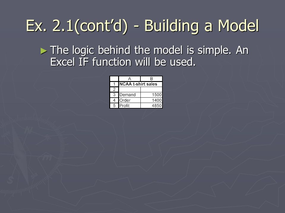 Ex. 2.1(cont'd) - Building a Model