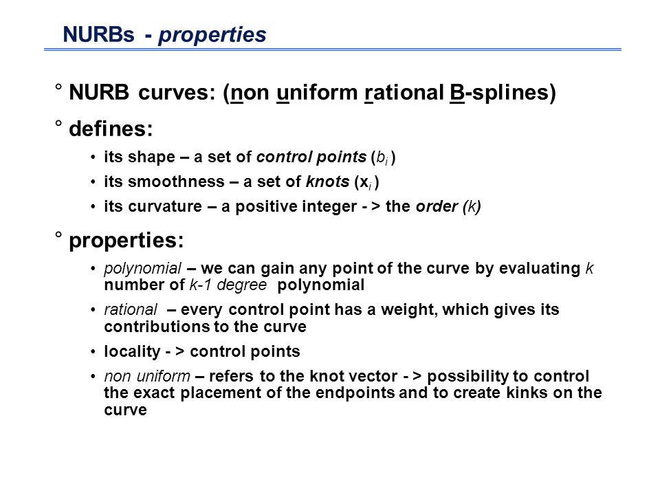 NURB curves: (non uniform rational B-splines) defines: