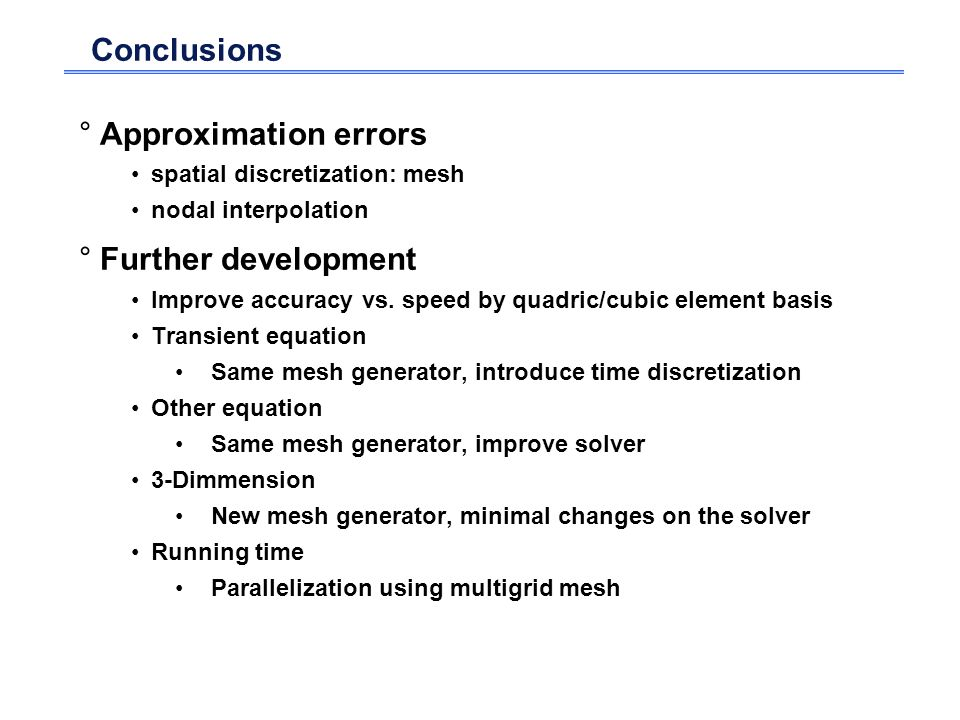 Conclusions Approximation errors Further development