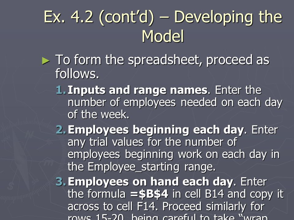 Ex. 4.2 (cont'd) – Developing the Model