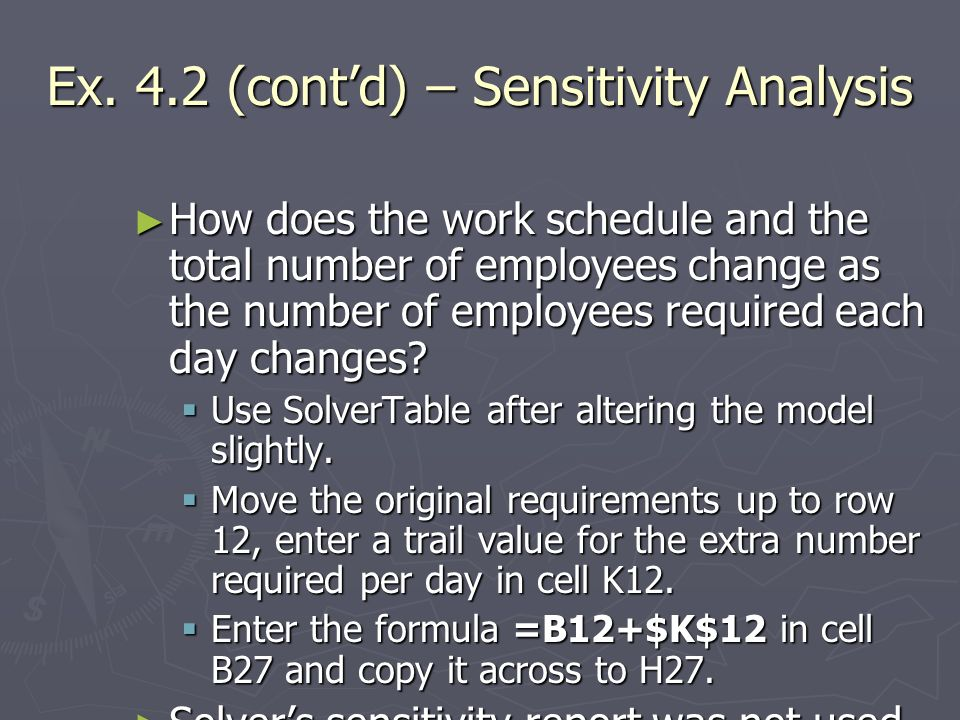Ex. 4.2 (cont'd) – Sensitivity Analysis