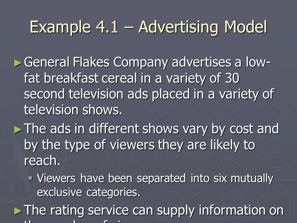 Example 4.1 – Advertising Model