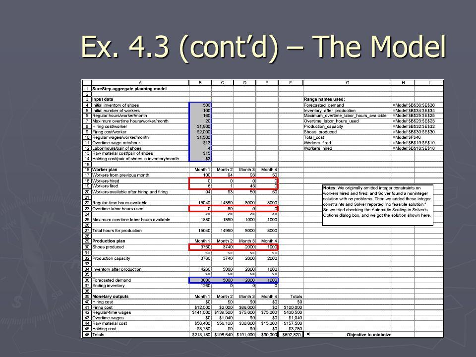 Ex. 4.3 (cont'd) – The Model