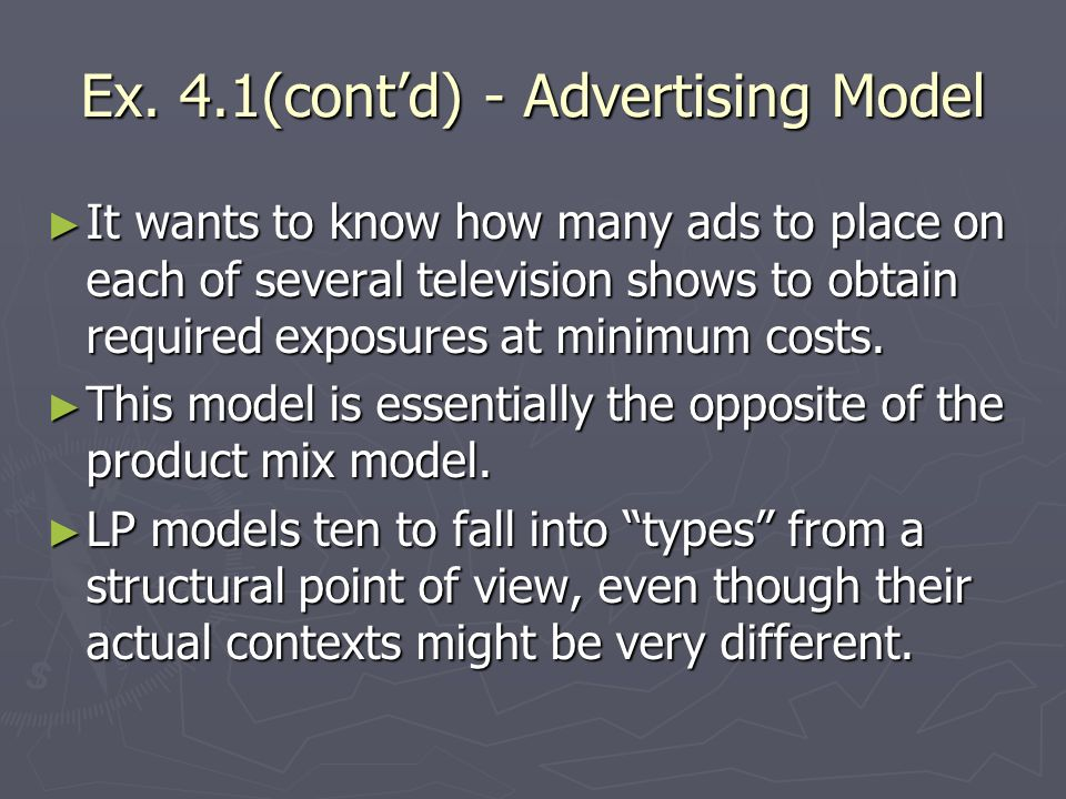Ex. 4.1(cont'd) - Advertising Model