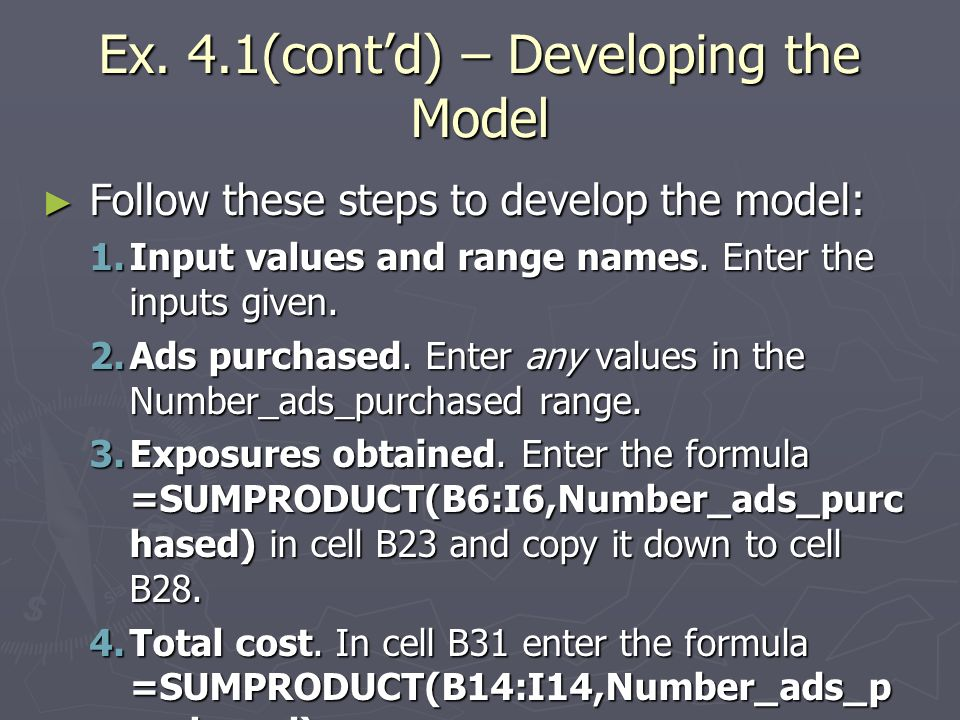 Ex. 4.1(cont'd) – Developing the Model
