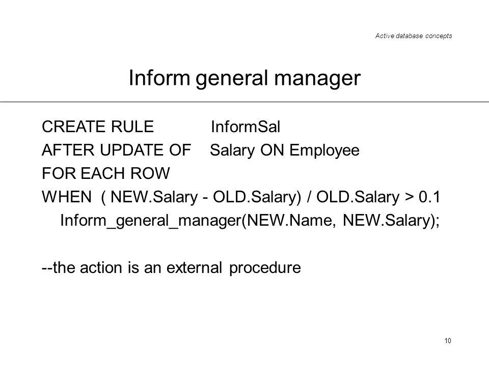 Inform general manager