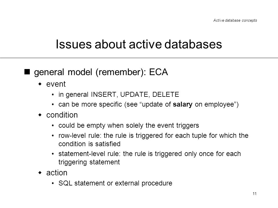 Issues about active databases