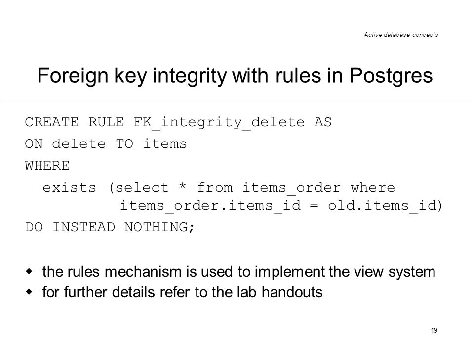 Foreign key integrity with rules in Postgres