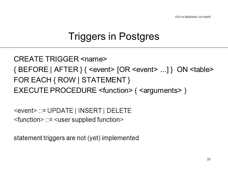 Triggers in Postgres CREATE TRIGGER <name>
